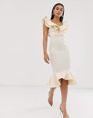 Bardot Asos Design ASOS DESIGN quilted pep hem midi dress
