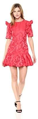 C/Meo Collective Women's Levity Short Sleeve Ruffle Rose Print Mini Dress