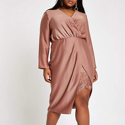 Womens Plus Pink wrap front waisted midi dress