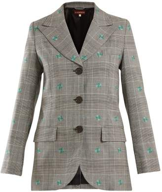 Flower-embroidered Prince of Wales-checked blazer