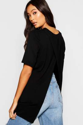boohoo Split Open Back T-Shirt