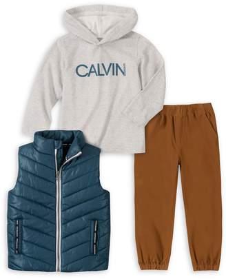 Calvin Klein Little Boy's 3-Piece Quilted Vest, Cotton-Blend Hoodie Cotton Jogger Pants Set