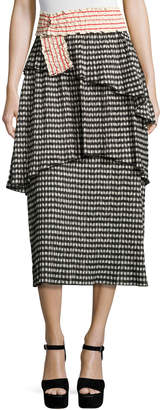 Rosie Assoulin Crinkled Gingham Midi Skirt, Black/White