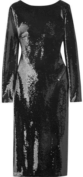 TOM FORD - Open-back Sequined Satin Dress - Black