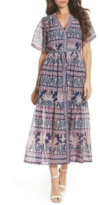 Eliza J Print V-Neck Fil Coup? Dress