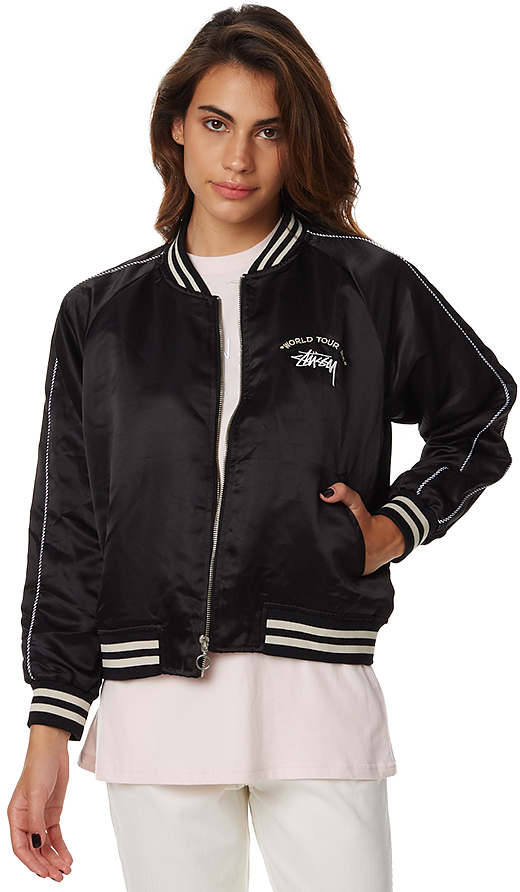 Stussy Womens World Tour Bomber Black