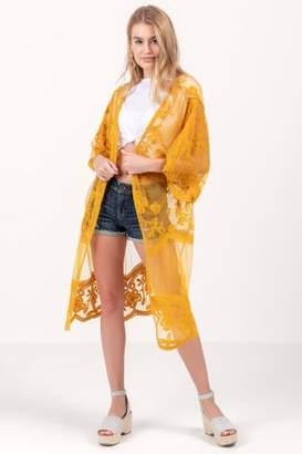 francesca's Laura Lace Maxi Kimono - Mustard