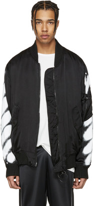 Off-White Black Diagonal Spray Bomber Jacket $1,665 thestylecure.com