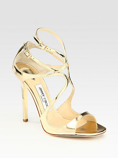 Jimmy Choo Lance Mirrored Metallic Leather Sandals