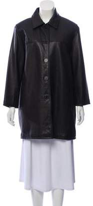 Nicole Miller Button-Up Leather Coat