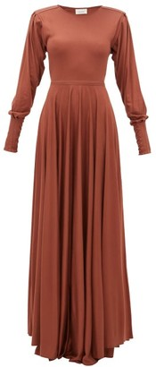 Lemaire Bias Cut Pleated Sleeve Modal Jersey Maxi Dress - Womens - Mid Brown
