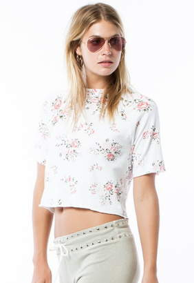 Monrow Cut Off Sweatshirt With Floral Print