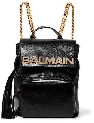 Balmain Embellished Textured-leather Backpack
