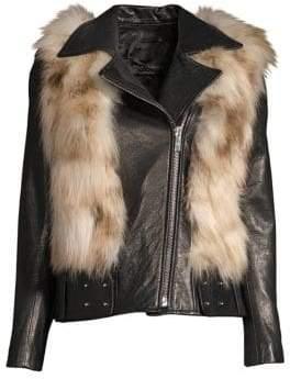 Nour Hammour Rochelle Fox Fur& Leather Moto Jacket