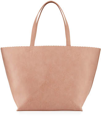 Neiman Marcus Large Scalloped-Trim Tote Bag