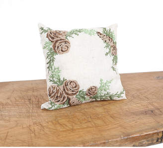 """Manor Luxe Winter Pine Cones and Branches Crewel Embroidered Pillow 14"""" x 14"""""""