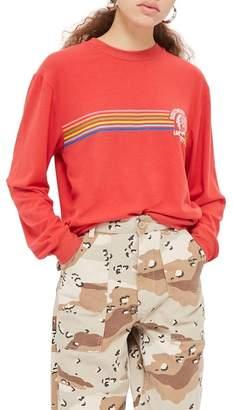 Topshop Southern State Slogan Rainbow Sweatshirt
