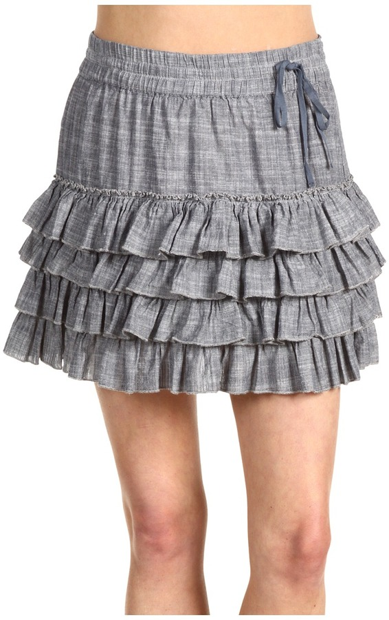 DKNY Jeans Juniors  Solid Ruffle Skirt