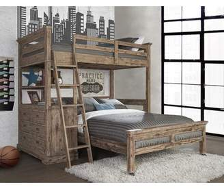 Viv + Rae Bryon Twin over Full L-Shaped Bunk Bed with 4 Drawer Chest and Lower Bed