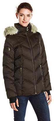 Nautica Women's Short Puffer Coat with Faux Fur Trim Hood $99 thestylecure.com