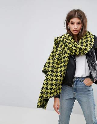 Asos DESIGN Long Bright Houndstooth Scarf