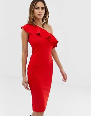 AX Paris one shoulder frill midi dress