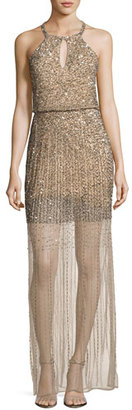 Parker Venus Sleeveless Embellished Blouson Gown, Nude $628 thestylecure.com