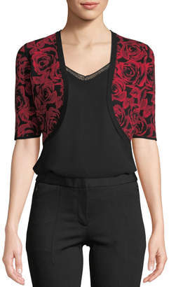Michael Kors Floral Jacquard Shrug Cardigan, Red/Black
