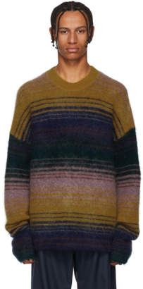 Acne Studios Yellow and Mulitcolor Nosti Stripe Crewneck Sweater