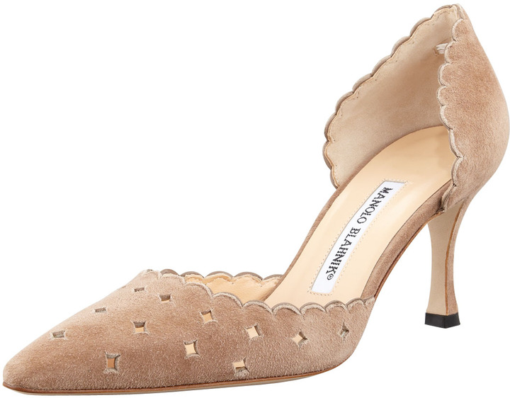 Manolo Blahnik Astro Suede Perforated d'Orsay Pump, Taupe