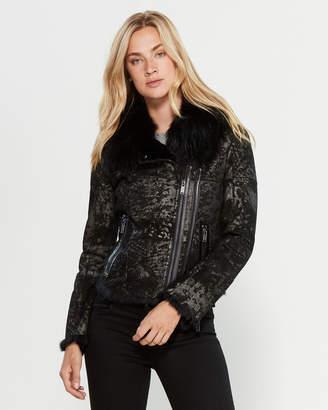 Intuition Paris Double Zip Real Fur-Trimmed Leather Coat