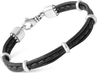 King Baby Studio Men's Multi-Strand Leather Band Bracelet with Sterling Silver