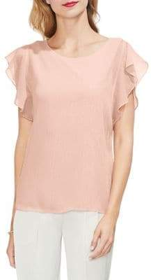 Vince Camuto Gilded Rose Ruffled Metallic Blouse