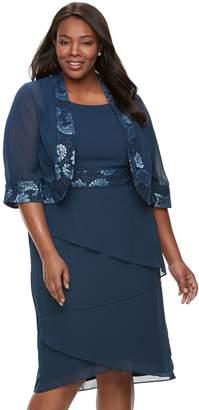 8fe3c0751c515 Le Bos Plus Size Lace-Trim Jacket   Tiered Dress