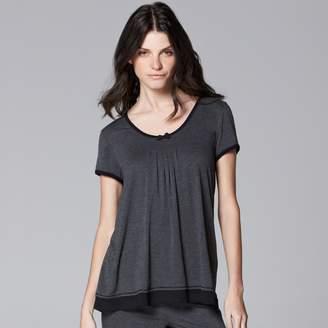 Vera Wang Women's Simply Vera Pajamas: Basic Solid Luxury Pajama Top