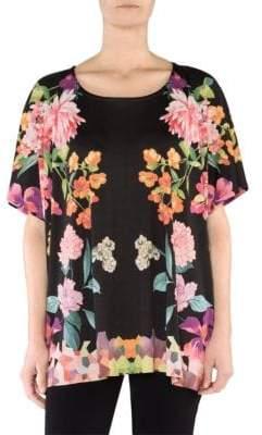 Stizzoli, Plus Size Oversized Floral T-Shirt