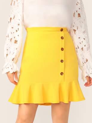 2cccfa1cf Shein Plus Neon Yellow Buttoned Front Ruffle Hem Skirt