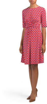 Twist Front Floral Jersey Dress