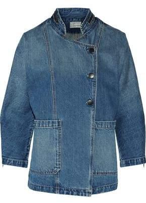 Current/Elliott Asymmetric Faded Denim Jacket