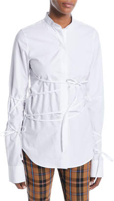 Rokh Long-Sleeve Button-Down Tunic Top with Ties