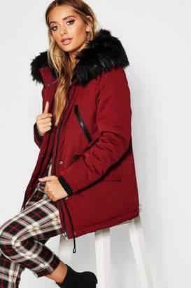 boohoo Technical Faux Fur Trim Parka