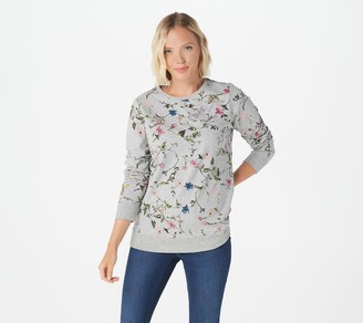 Factory Quacker Floral Printed Pullover with Bling Detail
