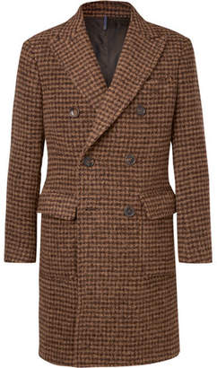 Incotex Slim-Fit Double-Breasted Houndstooth Alpaca-Blend Coat