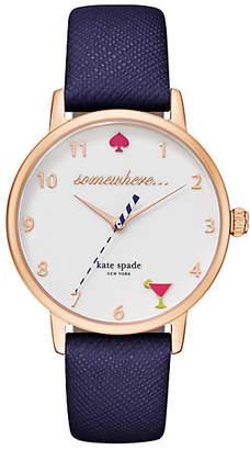 Kate Spade Metro 5 oclock somewhere navy leather watch