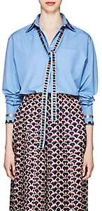 Valentino Women's Floral-Embroidered Cotton Oversized Blouse - Blue