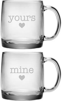 Susquehanna Glass Set Of Two 13Oz Yours & Mine Coffee Mugs