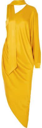 Ralph & Russo - One-shoulder Satin Midi Dress - Mustard