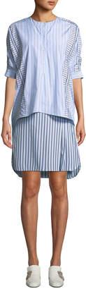 Carven Striped Layered 3/4-Sleeve Shirtdress