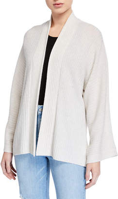 Vince Open-Front Ribbed Cardigan with Split Panel