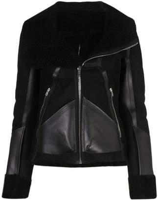 Rick Owens panelled shearling biker jacket